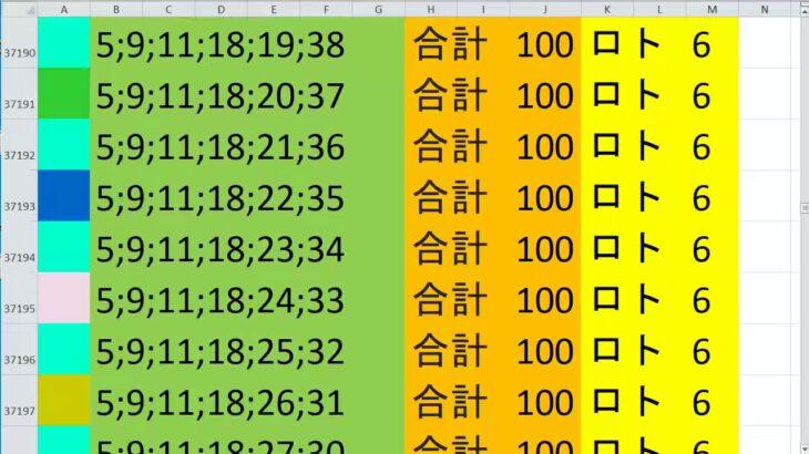 ロト 6 合計 100 (43から6)  ビデオ 1703