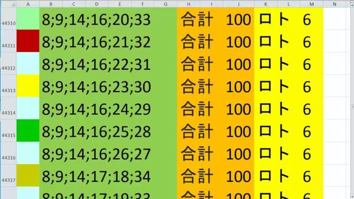 ロト 6 合計 100 (43から6)  ビデオ 2029