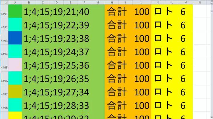 ロト 6 合計 100 (43から6)  ビデオ 206
