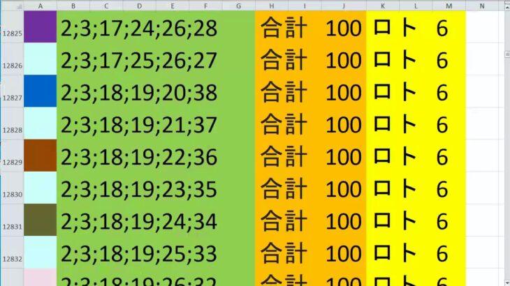 ロト 6 合計 100 (43から6)  ビデオ 587