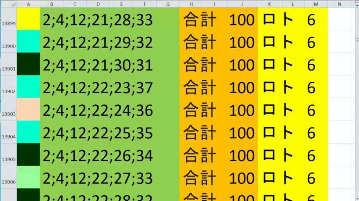 ロト 6 合計 100 (43から6)  ビデオ 636