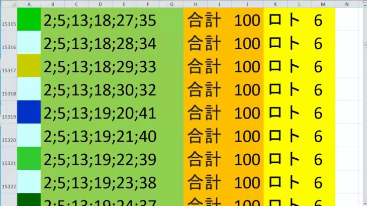 ロト 6 合計 100 (43から6)  ビデオ 701