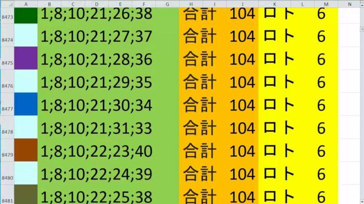 ロト 6 合計 104 (43から6)  ビデオ 8