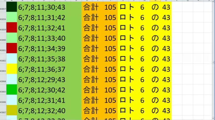 ロト 6 合計 105 (43から6)  ビデオ 204