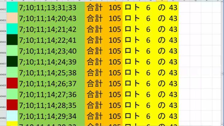 ロト 6 合計 105 (43から6)  ビデオ 230