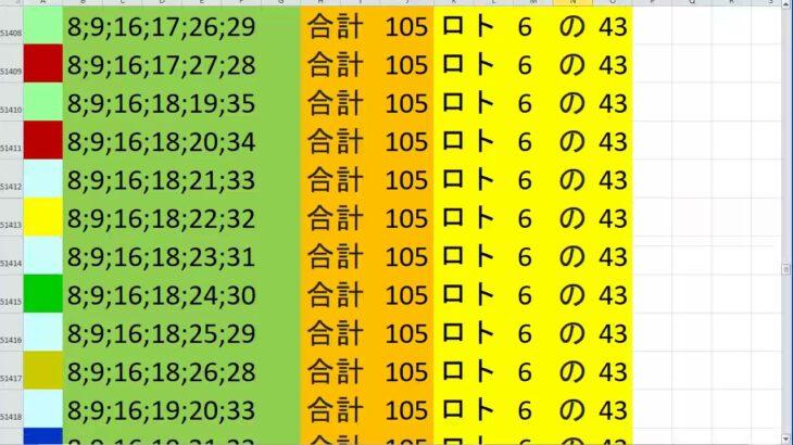 ロト 6 合計 105 (43から6)  ビデオ 239