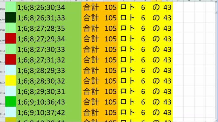 ロト 6 合計 105 (43から6)  ビデオ 29