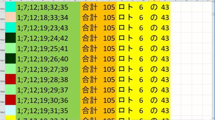 ロト 6 合計 105 (43から6)  ビデオ 36