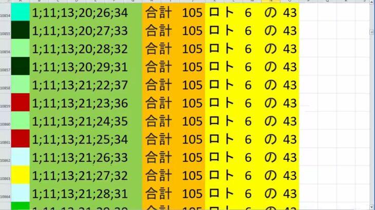 ロト 6 合計 105 (43から6)  ビデオ 51