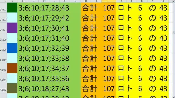 ロト 6 合計 107 (43から6)  ビデオ 123