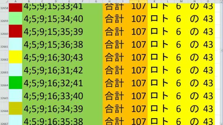 ロト 6 合計 107 (43から6)  ビデオ 152
