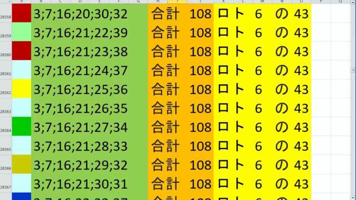 ロト 6 合計108 ビデオ 60