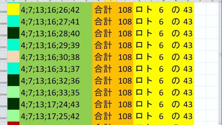 ロト 6 合計108 ビデオ 76