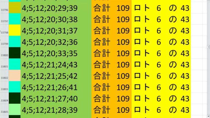 ロト6 合計 109 ビデオ 69