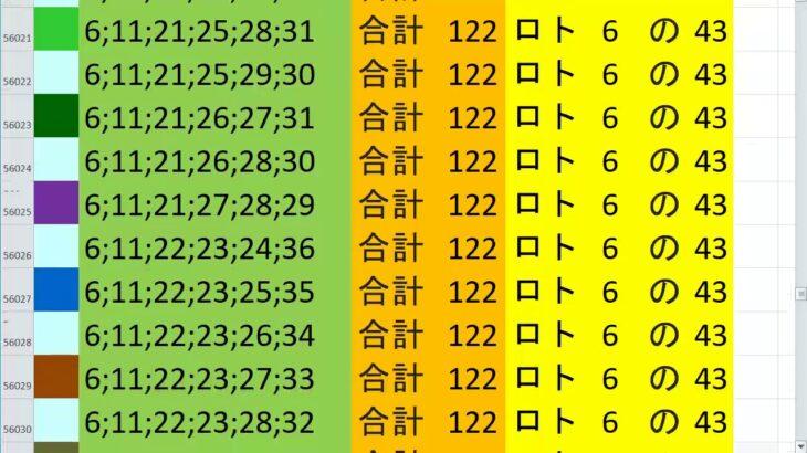 ロト6 合計 122 ビデオ 58