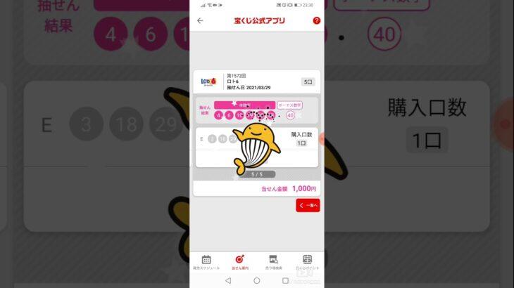 ロト6 1572回 1000円分購入結果!当選!