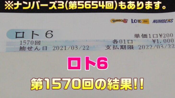 ロト6(第1570回))を5口 & ナンバーズ3(第5654回)をストレートで3口購入した結果