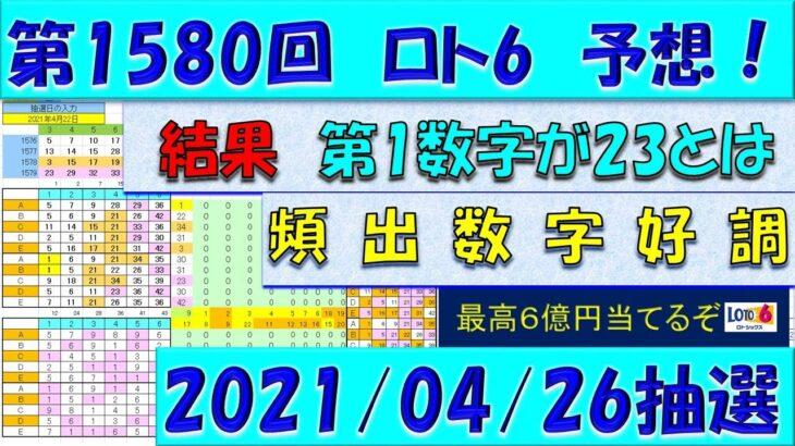 第1580回 ロト6予想 2021年4月26日抽選