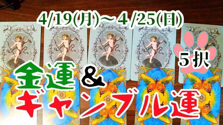 【金運💰&ギャンブル運🎰】4月19日~4月25日まで🌈✨一週間分の金運💰&ギャンブル運チェック!5択#タロット, #オラクルカード,#タロットリーディング,#今日の運勢,#金運,#ギャンブル運