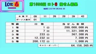 """ろんのすけ超""""的中予想【ロト6】第1598回抽せん結果!! ※1等1口→2億円でました‼"""