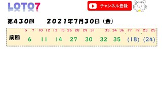予想数字 第430回 LOTO7 ロト7 2021年7月30日 (金) HiromiTV