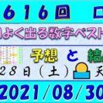 第1616回 ロト6予想 2021年8月30日抽選