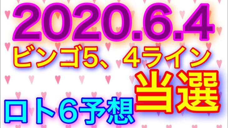 【2020.6.4】ビンゴ5、4ライン当選&ロト6予想!