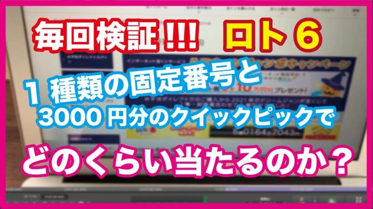 ☆ロト6☆  1パターンの固定数字と3000円分のクイックピックでどのくらい当たりが出るのかやってみた!!